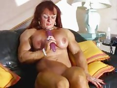 Muscle Goddess Maryse Manios plays with a dildo Pt 2