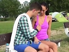 Tight creamy teen fucked Eveline getting plumbed on camping