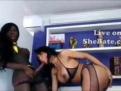 Black tranny jerking ebony shemale