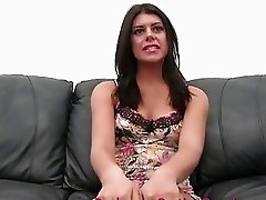 Anal Loving Party Favor Assfucked and Cum Covered on Casting Couch