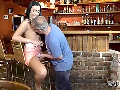 Daddy invites son and his GF to the bar and fucks cutie