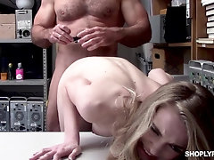 Teen fucked by security guard after being caught