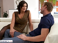Buxom alluring sexpot with rounded booty Becky Bandini is poked from behind