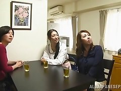 Busty Japanese slut in blue bra gives titjob to horny Asian guy