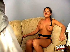SLutty brunette Sophia Gently rides a big black dick on the couch