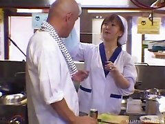 She fucks her boss at the Japanese restaurant to get a promotion