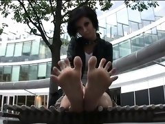 Foot fetish outdoor action