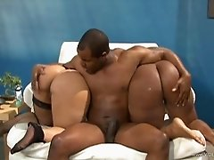 Lewd ebonies Pinky and Skyy Black share a BBC in hardcore FFM clip