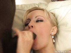 Black feverish hubby fucks spoiled blond haired MILF Maya B in mish style on beige sofa