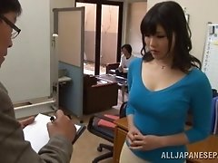 Cougar in miniskirt displaying her hot ass seductively in the office