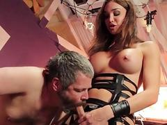 Irresistible shemale with amazing tits pounds her crazy sex slave
