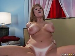 Fake tittied bombshell Darla Crane gives eager blowjob to Danny Mountain