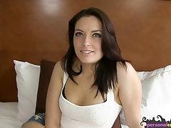 Gorgeous brunette gobbling casting cock