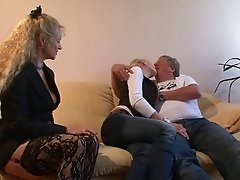 Mature dude bangs his concubines thoroughly in a heated old vs young threesome