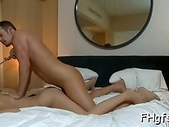 Lusty busty Karina begs for hardcore