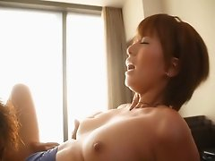 An Asian babe seduces her man and fucks all over the house