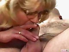 Granny sucks tenderly hard prick