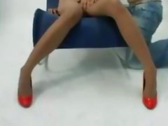Asian girl squirting all over the chair