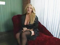 Holly Sweet Jerking On Red Sofa